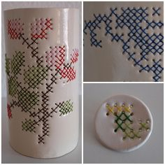 Cross stitched ceramic jars and brooch created by Irene Johansen. Such a creative idea!