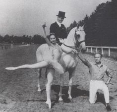 George Balanchine with a young Suzanne Farrell at Saratoga Race Course.