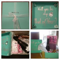 "I made these boxes to ask my best girlfriends to be my Maid and Matron of Honor.  I painted a box Tiffany blue and in place of the Tiffany & Co. logo wrote ""Bride & Co.""  I used bling-on-a-roll pearls and crystals to decorate the corners. On the inside of the cover i wrote ""Will you be my Maid of Honor?""  Inside the box I attached notes to each item. Wine/champagne:""a toast to friendship"", tissues:""in case one of us gets teary-eyed"", light-up ring: ""John proposed to me, now its my…"
