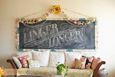 Under the Sycamore. This girl loves color as much as I do. Her style just plain makes me happy. Under The Sycamore, Large Chalkboard, Chalk It Up, Wall Decor, Room Decor, Funky Junk, Living At Home, Just A Little, Decoration
