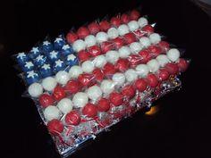 Made this cakepop flag for the Fourth of July.  Took time (I used a cakepop maker) but everyone loved it!