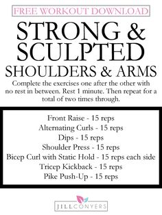 Looking for a workout to tone and strengthen your upper body? 2 rounds of this quick, efficient circuit session will leave you tired, sore, and feeling strong. I'm back with another upper body workout to help you shape and tone your shoulders and arms for the strappy sundresses and colorful tank tops. And, we're going to do it without a lot of time. That's a win. Right? Pin it now to workout later or click through to download the free workout printable. @jillconyers