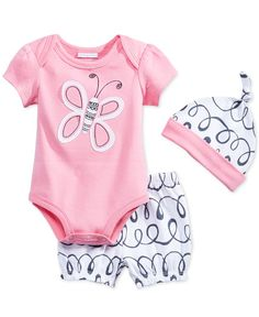 First Impressions Baby Girls' 3-Piece Butterfly Bodysuit, Shorts & Hat Set, Only at Macy's