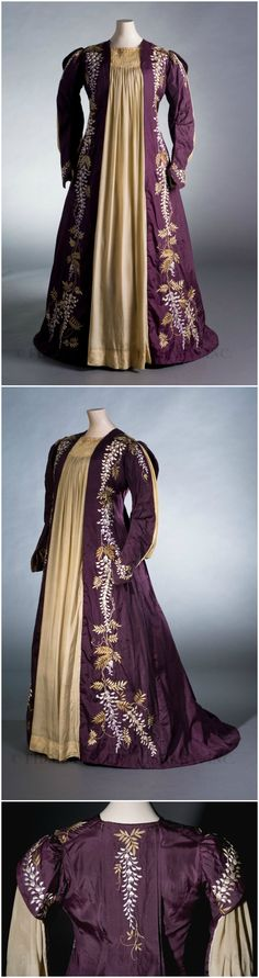 Smocked tea gown with embroidered pattern of Japanese wisteria vines, Great Britain, c. 1887-89, at the FIDM Museum.