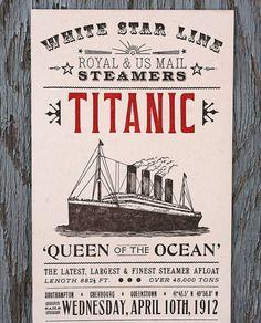 titanic letterpress print by starshapedpress on etsy   via betype