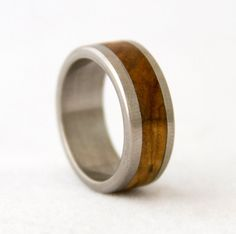 SPRING SALE 10 off Wood Ring Wedding Band Titanium by aboutjewelry, $144.00