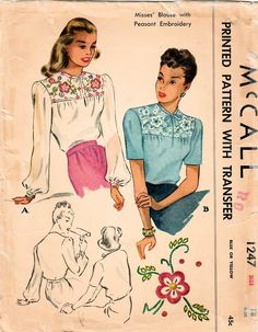 Inspired blouse fashion, in my #etsy shop: 1940s McCall 1247 Vintage Sewing Pattern Misses Blouse, Yoked Blouse, Short Sleeve Blouse, Long Sleeve Blouse Size 18 Bust 36 https://etsy.me/2IHanDI #supplies #sewing #mccall1247 #missesblouse #blousepattern #40sblousepattern