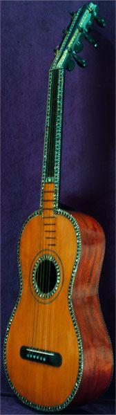 Instrumentos Musicais início, Romantic Guitar antigo por Canga datada de 1812