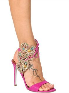 #ReneCaovilla SUEDE JEWEL EMBELLISHED SANDALS