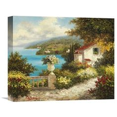 Global Gallery 'Casa del Mare' by Lazzara Original Painting on Wrapped Canvas Size: