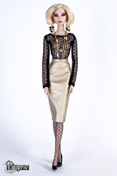ELENPRIV golden color leather pencil skirt for Fashion royalty