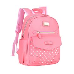 Coral Pink Patent Leather Cute Bow Girls Flap School Backpack Boutique  Polka Dot Bottom Studded Gold Sequin Pupil Campus Book Bag b2eb7ce7e4402