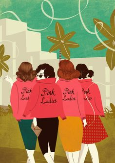 Grease Pink Ladies 1950s Illustration Limited by EmyLouHolmes