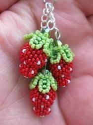 Image result for strawberry earrings beaded square stitch