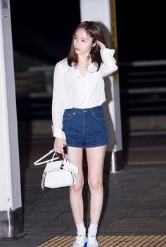 White Plain Polo with Bob Cut and Maong Short Fashion of fx Krystal