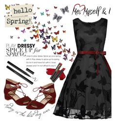 """Rosegal Trending butterfly print dress"" by suljic-melika ❤ liked on Polyvore featuring Allurez and L.A. Girl"