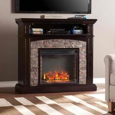 Electric Fireplace Console With Faux Stone For TV's Up To...