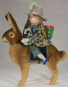 Easter Bunny Candy Container with Rider c1920-Have something similar but the child is dressed different and is a reproduction. A gift from a wonderful friend!