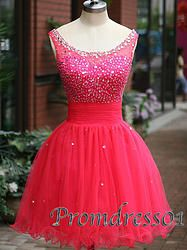 #promdress01 prom dresses - 2015 cute red tulle round neck sparkly short prom dress for teens, homecoming dress, occasion dresss #prom2k15 #promdress -> www.promdress01.c... #coniefox #2016prom
