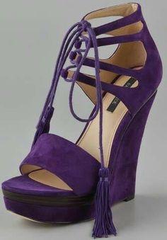 Purple lace up wedges