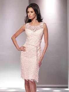 Graceful Illusion Knee Length Pink Lace Sheath Column Mother Of The Bride Dress #motherofthebride
