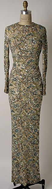 Vintage Fashion: Silk evening dress adorned with rhinestones. Glitz and glamor! Designed by Norman Norell. Circa: 1950-65. Met Museum of Art.