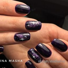 Dark Nails, Purple Nails, Bling Nails, Black Nail Designs, Beautiful Nail Designs, Fabulous Nails, Gorgeous Nails, Cute Nails, Pretty Nails