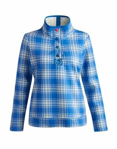 Joules PEACHY Womens Checked Sweatshirt, Blue Diamond. Perfect for town and country. Awash with a delicate checked pattern print this sweatshirt will provide you with warm and comfort whenever you need it. With a breeze-banishing stand collar and in the finest cotton that includes a touch of stretch for comfo