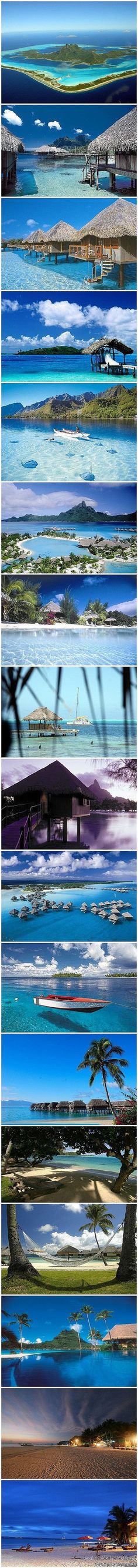 www.ispycandy.com Tahiti's Bora Bora - looks like HEAVEN perfect honeymoon destination!!!