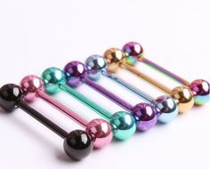 10pcs Mixed Logo Ball Tongue Bars Rings Barbell Piercing Stainless Steel Nice Oa