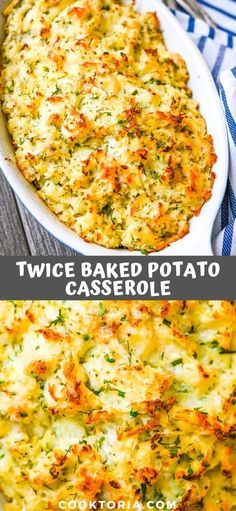Filling and comforting, this Twice Baked Potato Casserole makes a perfect no-fuss side dish for a holiday meal. Simple ingredients – incredible tast… - New Site Baked Potato Recipes, Veggie Recipes, Cooking Recipes, Healthy Recipes, Skillet Recipes, Simple Potato Recipes, Ark Recipes, Cooking Stuff, Hamburger Recipes