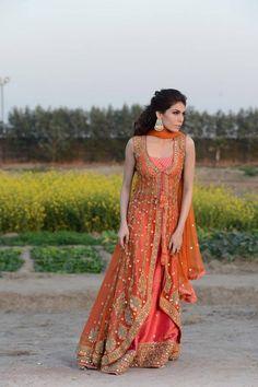 Orange lengha by Mehryn Zafar