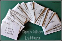 "This is a really great example of ""open when"" letters and what to put in them. Saving this for later :)"