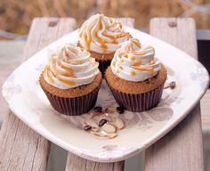 Almond-Espresso Cupcakes Recipe. Perfect little cake to go with your afternoon kick in pants caffeine jolt!! #cupcakerecipes