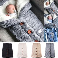 Newborn Infant Baby Blanket Knit Crochet Winter Warm Swaddle Wrap Sleeping Bag U Swaddle Wrap, Baby Swaddle Blankets, Knitted Baby Blankets, Baby Knitting Patterns, Crochet Patterns, Crochet Winter, Knit Crochet, Blanket Crochet, Newborn Sleeping Bag