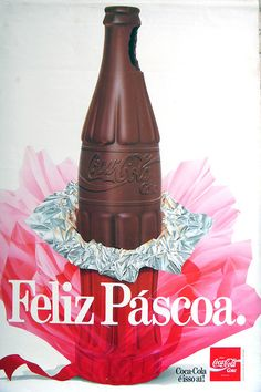 1980s Coca-Cola Chocolat Bottle Pascoa - Easter Brazillian ad by roitberg, via Flickr