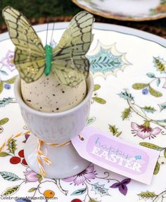 Easter tabletop ideas - place setting egg cup