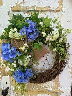 Summer Wreath for Front Door, Hydrangea Wreath, Blue Wreath, Front Door Wreath by FlowerPowerOhio on Etsy
