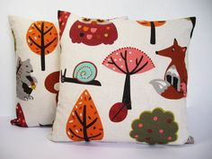 Kids woodland animals fabric cushion cover 16x16 on Etsy, $22.20