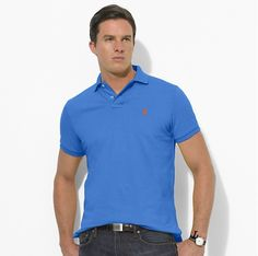 Ralph Lauren Men\u0026#39;s Classic-Fit Mesh Short Sleeve Polo Shirt Greenwhich Blue http:/