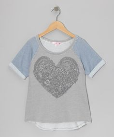 Take a look at this Blue & Gray Lace Heart Raglan Top by Sugar Tart on #zulily today!