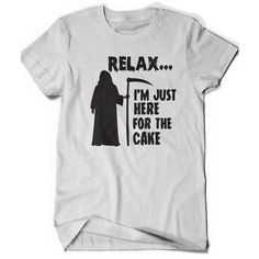 Funny Birthday Shirt I'm Just Here for the Cake Grim Reaper Tshirt... ($15) ❤ liked on Polyvore featuring men's fashion, men's clothing, men's shirts, men's t-shirts, mens thin t shirts, mens t shirts, men's going out shirts, mens party shirts and mens collared shirts