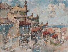 Gregoire Johannes Boonzaier - Red Roofs, Clouds and Table Bay