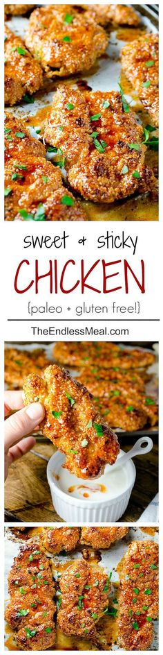 Spice up your Sunday football gathering -- Sweet and Spicy Paleo Chicken Bites are SO yum. Recipes uses almond flour, honey, and Greek yogurt for a healthier spin.