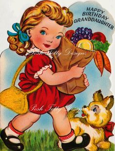 Etsy の A Little Girls Groceries 1950s Vintage by poshtottydesignz
