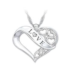 Love Engraved Diamond Pendant Necklace for Daughter ($99) ❤ liked on Polyvore featuring jewelry, necklaces, heart shaped necklace, open heart pendant necklace, engraved pendant necklace, fine jewelry and heart shaped pendant necklace