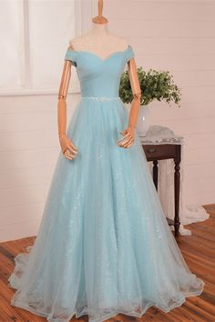 140a6af45841 A Line Sweetheart Off The Shoulder Light Blue Tulle Prom Dress Beading Belt