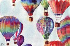 Watercolor Painting - Hot Air Balloons Illustration Watercolor - 8x10 Art Print - Limited Edition