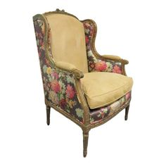 Gilt painted carved frame with cream upholstered seat and back. Back and wings with floral paint decoration. Rosettes over reeded tapered legs. Reupholster Furniture, Chair Upholstery, Chair Fabric, Upholstered Furniture, Wingback Chair, Funky Furniture, Unique Furniture, Furniture Ideas, Laminate Furniture