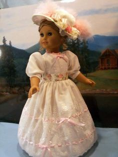 Ivory Eyelet Gown with Chapeau & Reticule for American Girl dolls Felicity & Elizabeth, by drommer0 via eBay auction ends Tues 3/14/16